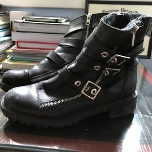 ZARA BIKER BOOTS (FAUX FUR LINED & REAL LEATHER)